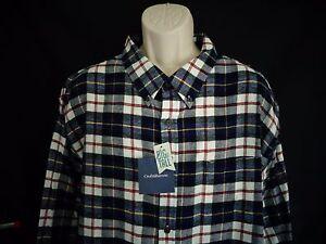 NWT-Croft-amp-Barrow-Navy-blue-plaid-long-sleeve-flannel-shirt-men-039-s-3XB