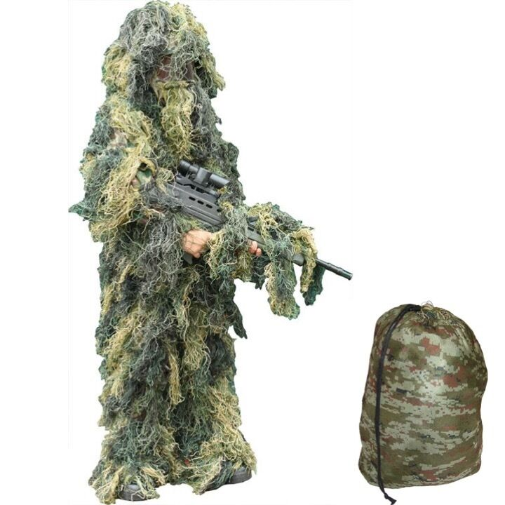 KIDS ARMY GHILLIE SUIT BOYS CAMO SOLDIER SNIPER FANCY DRESS 3D COSTUME OUTFIT