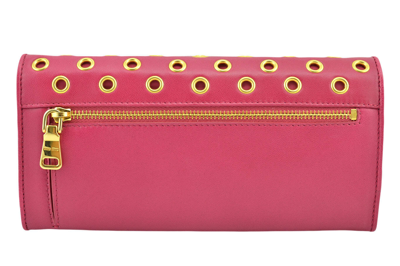16316c08701e Details about  650 MIU MIU Fuchsia NAPPA VELE Leather Gold Rings Clutch  Wallet LIMITED EDITION