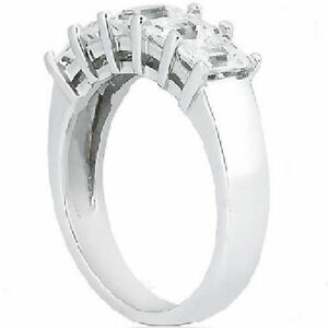 1-60-carat-5-Emerald-Cut-Diamond-Anniversary-Ring-Wedding-Band-18k-Gold-F-color