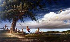 "Terry Redlin ""Spring Fever"" Kids Playing with Kites Art Print-18"" x 10.5"""