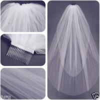 New 2T White/ivory Bridal Elbow Length Cut Edge Wedding Veil 50-80 CM With Comb