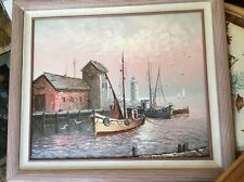 Vintage Estate MAX SAVY Harbor Dock Lighthouse Framed Signed org. OIL PAINTING