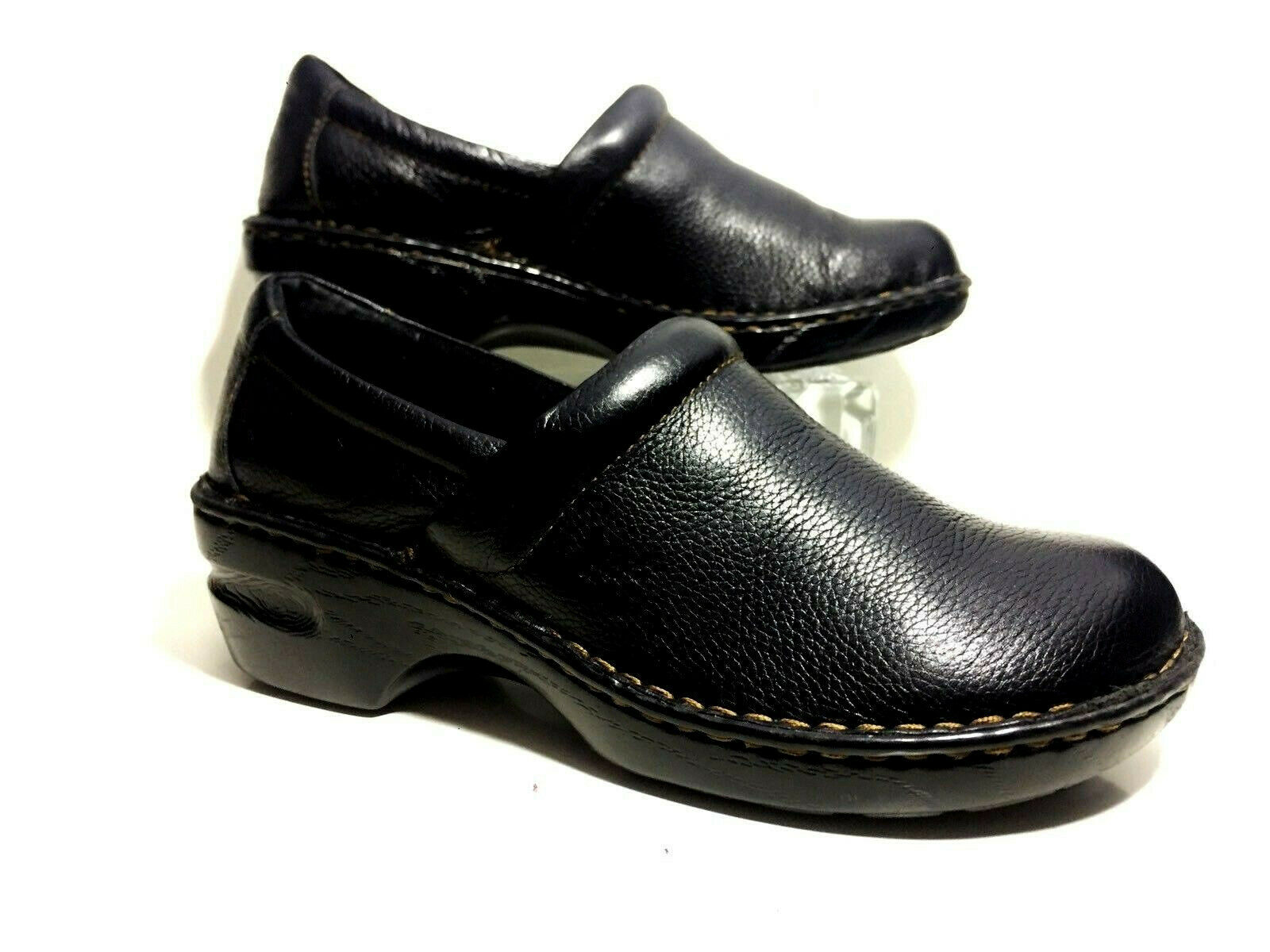 B.O.C Born Concept Slip On Clogs 9.5 M Black Leather Wedge Womens shoes