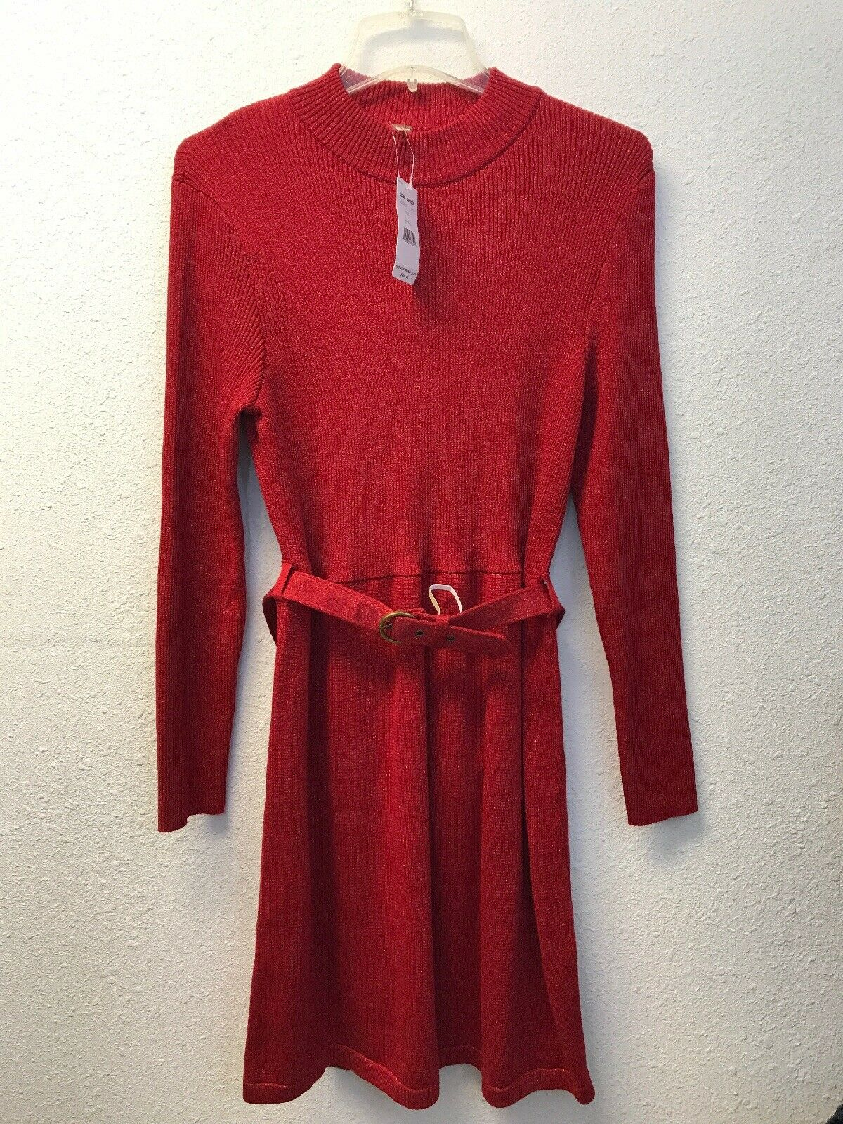 NWT Free People French Girl Contrast Mini Dress rot Größe L Long Sleeve Belt