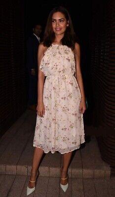 Zara Floral Print Sequin Flowing Frill Dress Size L LARGE UK12 BNWT