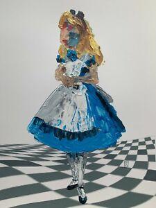ORIGINAL-Abstract-Disney-Alice-in-Wonderland-Palette-Knife-Art-Painting-12x16