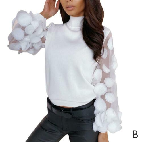 Fashion Women Ladies T-Shirts Lace Puff Sleeve Solid Slim Sweaters Dot Print Top