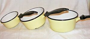 SET-3-VINTAGE-FRENCH-YELLOW-ENAMEL-SAUCE-PANS-SAUCEPANS-GREAT-FOR-DISPLAY