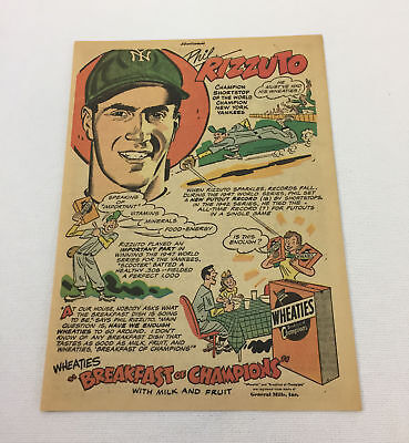 Zuversichtlich 1948 Wheaties Cartoon Ad Phil Rizzuto ~ Ny Yankees Fanartikel