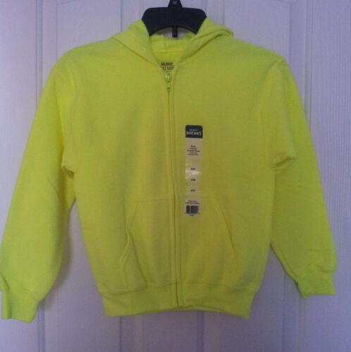 Kids Fleece Hoodie Neon Green Size Zip Front Pockets 50//50 Gildan NWT M-L-XL