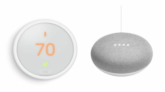 Nest E Programmable Thermostat with Google Home Mini And Sma