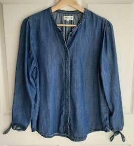 Madewell-Womens-Blue-Denim-Tie-Sleeve-Button-Down-Shirt-Top-Blouse-Size-Small