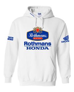 S - XXL weiß Größen Rothmans Honda Motorrad inspirierter Kapuzenpulli Hemd
