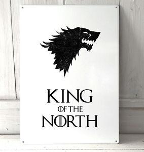 Rey-de-los-del-Norte-Game-Of-Thrones-inspirado-signo-A4-Placa-De-Metal-Decoracion