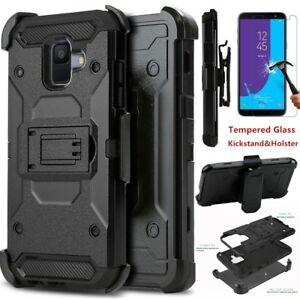 For-Samsung-Galaxy-A6-2018-Shockproof-360-Armor-Stand-Clip-Case-Tempered-Glass
