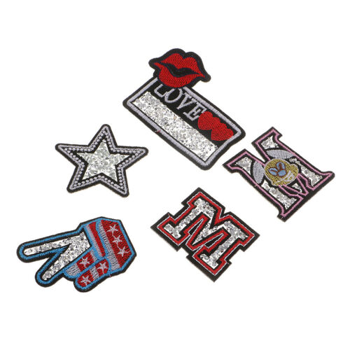 5Pcs Sequins Star M Patch Applique Embroidered Star Patches Sew on Badge DIY
