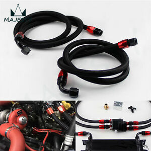 Details about 2Pcs 8AN Nylon Steel Braided Oil Cooler Filter Hose Oil Fuel  Line + Fittings