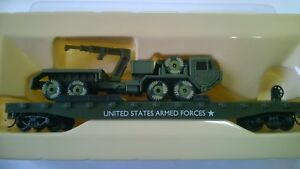 98653-Wagon-Plat-avec-Vehicule-militaire-US-Army-Model-Power-HO-1-87