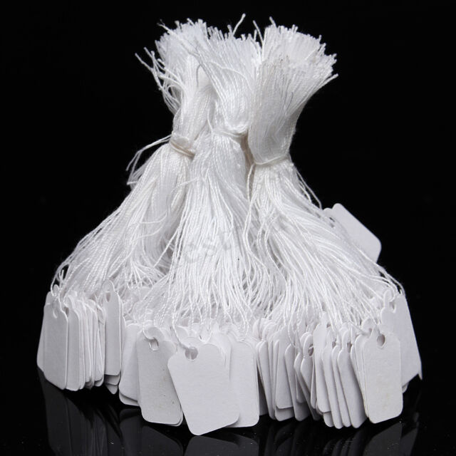 500 White Strung String Tags Swing Price Tickets Jewelry Retail Tie On Label !