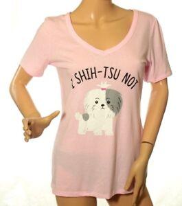 Jenni by Jennifer Moore Women's Pink Sleep-shirt (I shih-Tsu Not)Top Size S