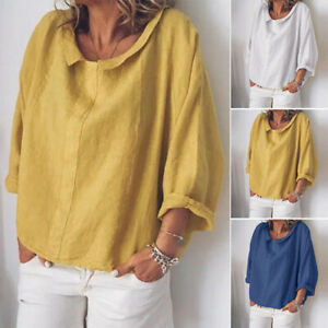 ZANZEA-Women-Round-Neck-Casual-Plain-Loose-Blouse-Tops-Oversize-Solid-Shirt-Plus