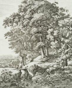 M Hinterkircher. Mann mit Knaben auf dem Weg in den Wald. Radierung