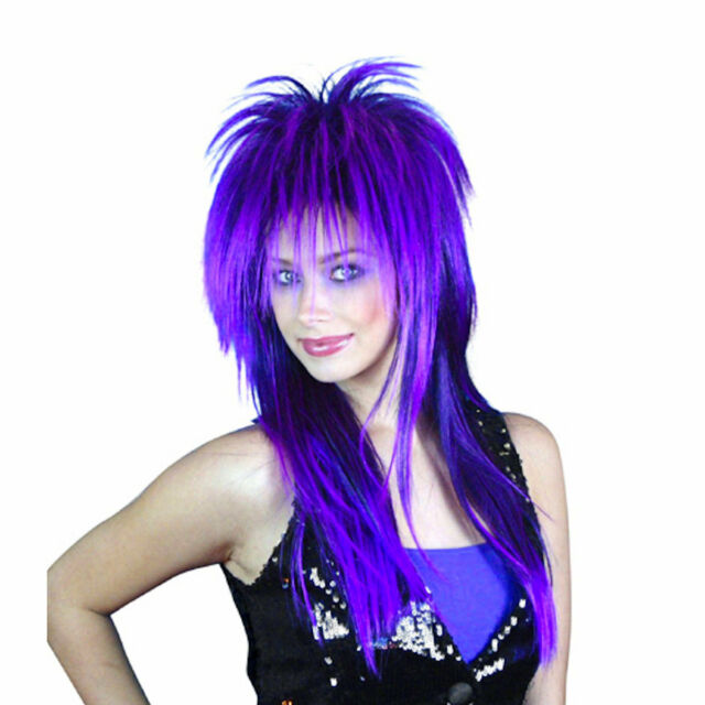 80s Cindy Lauper Spiky Layered Wig Purple   Black Party Costume ... 2003d6f68