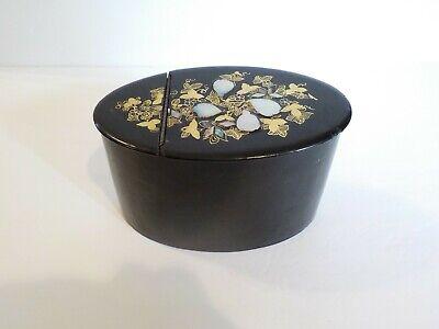 19. C Viktorianisch Pappmaché Flip-top Oval Aufbewahrungsbox,m. O.p.einlage HeißEr Verkauf 50-70% Rabatt