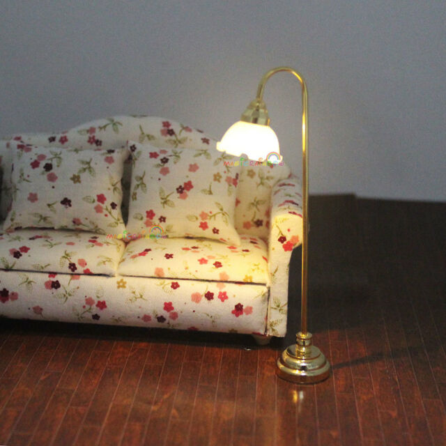 Floor Standard Lamp Reading Light w/ Switch 3V Battery Dollhouse Miniature 1:12