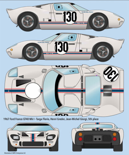 1967 Ford France GT40 Mk 1 Targa Florio water transfer decals for Fujimi kit