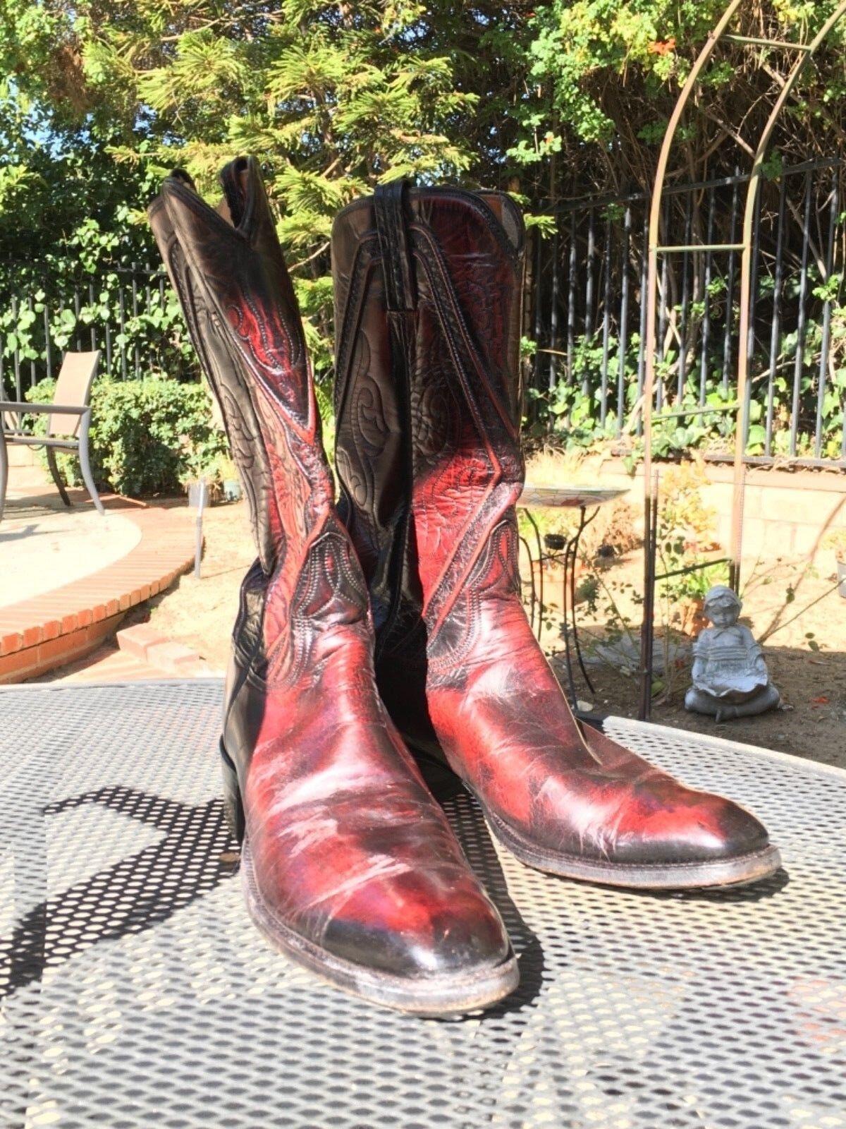 Vintage Lucchese San Antonio para hombres 9 1 2 - 9.5 A Negro botas De Vaquero moho Cereza