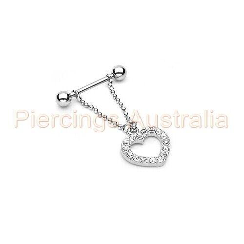 Gem Love Heart Dangle Nipple Piercing Bar Ring Shield CHOOSE SINGLE OR PAIR