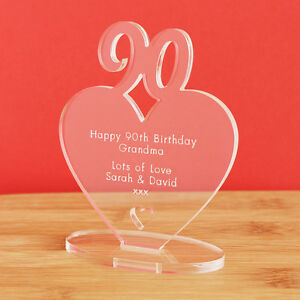 Image is loading 90th-Birthday-Personalised-Milestone-Heart-Keepsake-Gift- Idea-