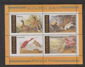 Tanzania - 1986, J Audubon, Birds sheet - MNH - SG MS468