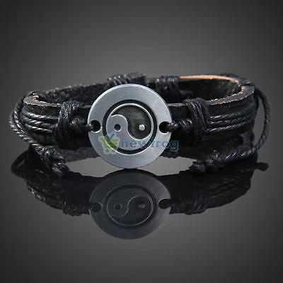 Fashion Mens Wrap Leather Charm Infinity Bracelet Women Multilayer Chain Jewelry