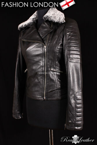 /'ALEXA/' Ladies Black FUR COLLAR Biker Designer Fashion Genuine Leather Jacket
