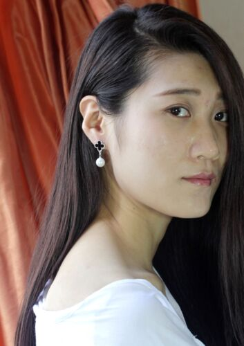 Ohrringe Silber Perle Stecker Lucky Blume Schwarz Beschichtet 18K Nn 4