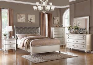 4 PC Silver Queen Bedroom Set Platform Bed Diamond Tufted ...