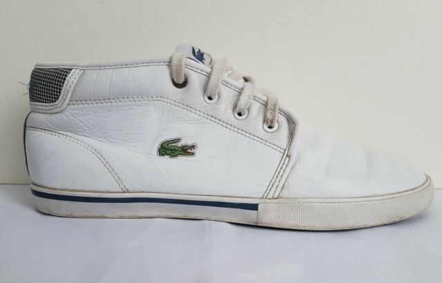 Lacoste Ampthill LHD Mens White Leather Hi Top Trainers Shoes Faux Fur UK 8