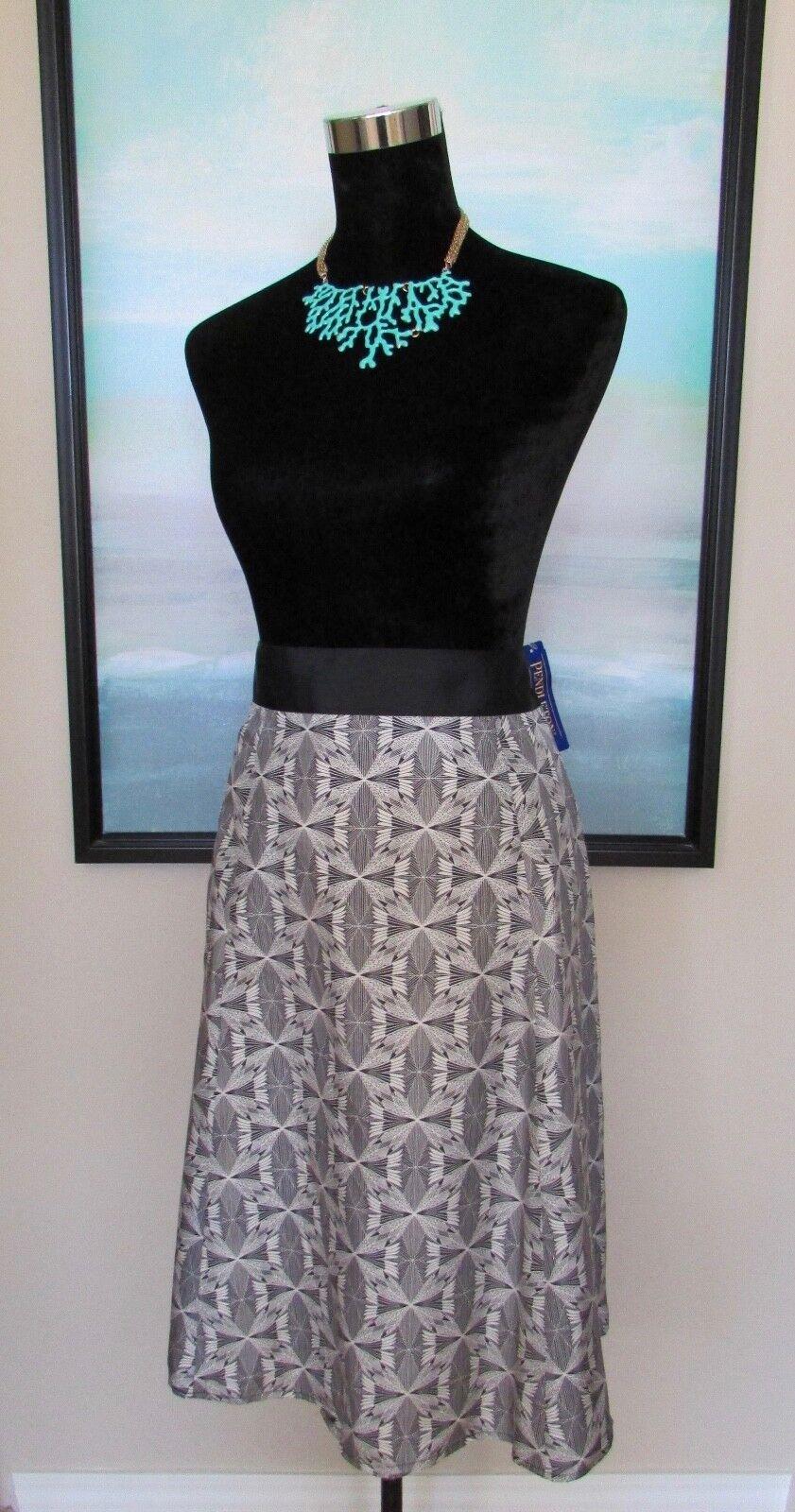 149 NWT PENDLETON Silk Skirt B&W Native American Pottery Print Sz 18