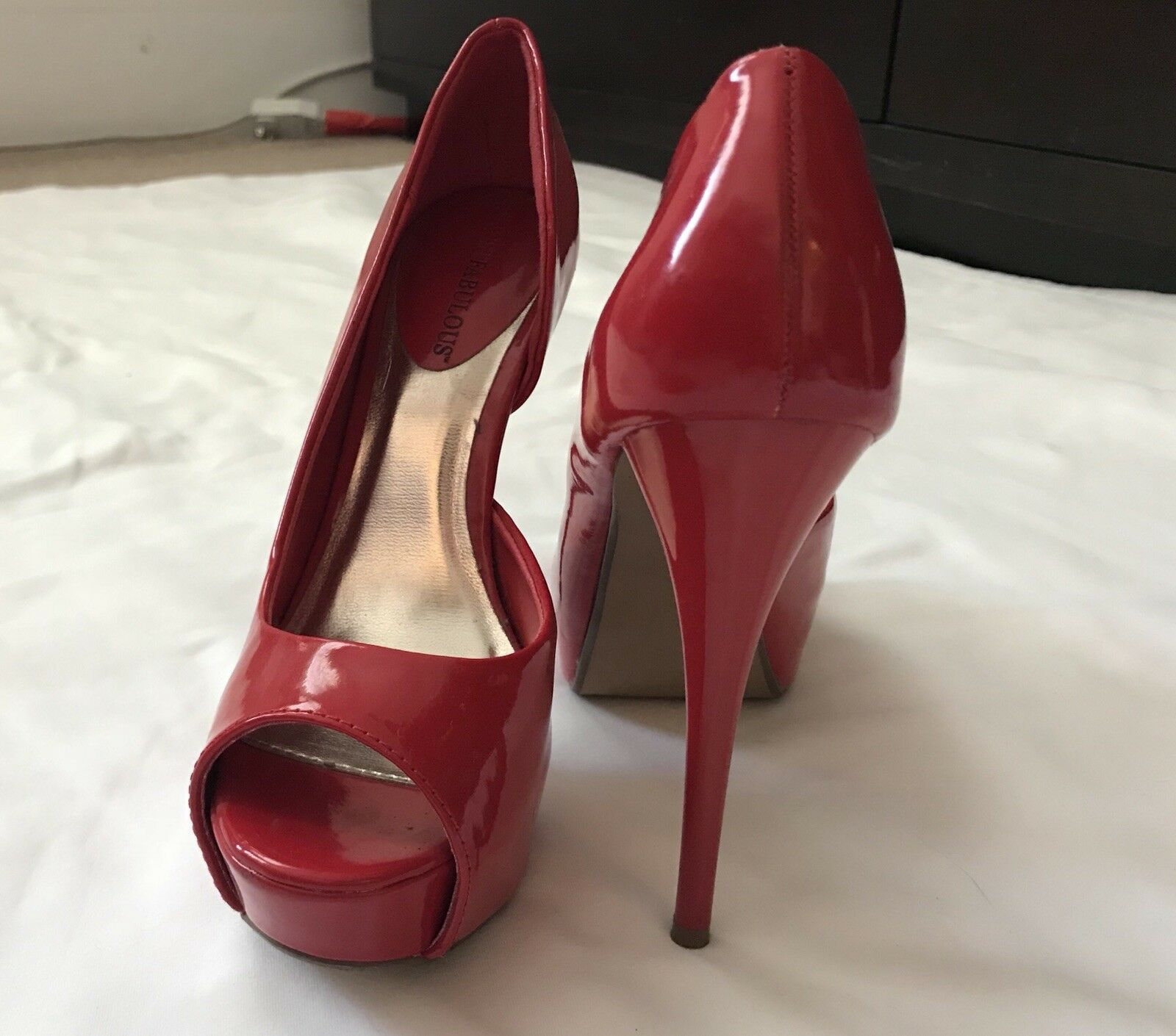 Gentleman/Lady Just Fab Best-selling Red Pumps Size 7 Best-selling Fab worldwide auction Exquisite processing 61a181