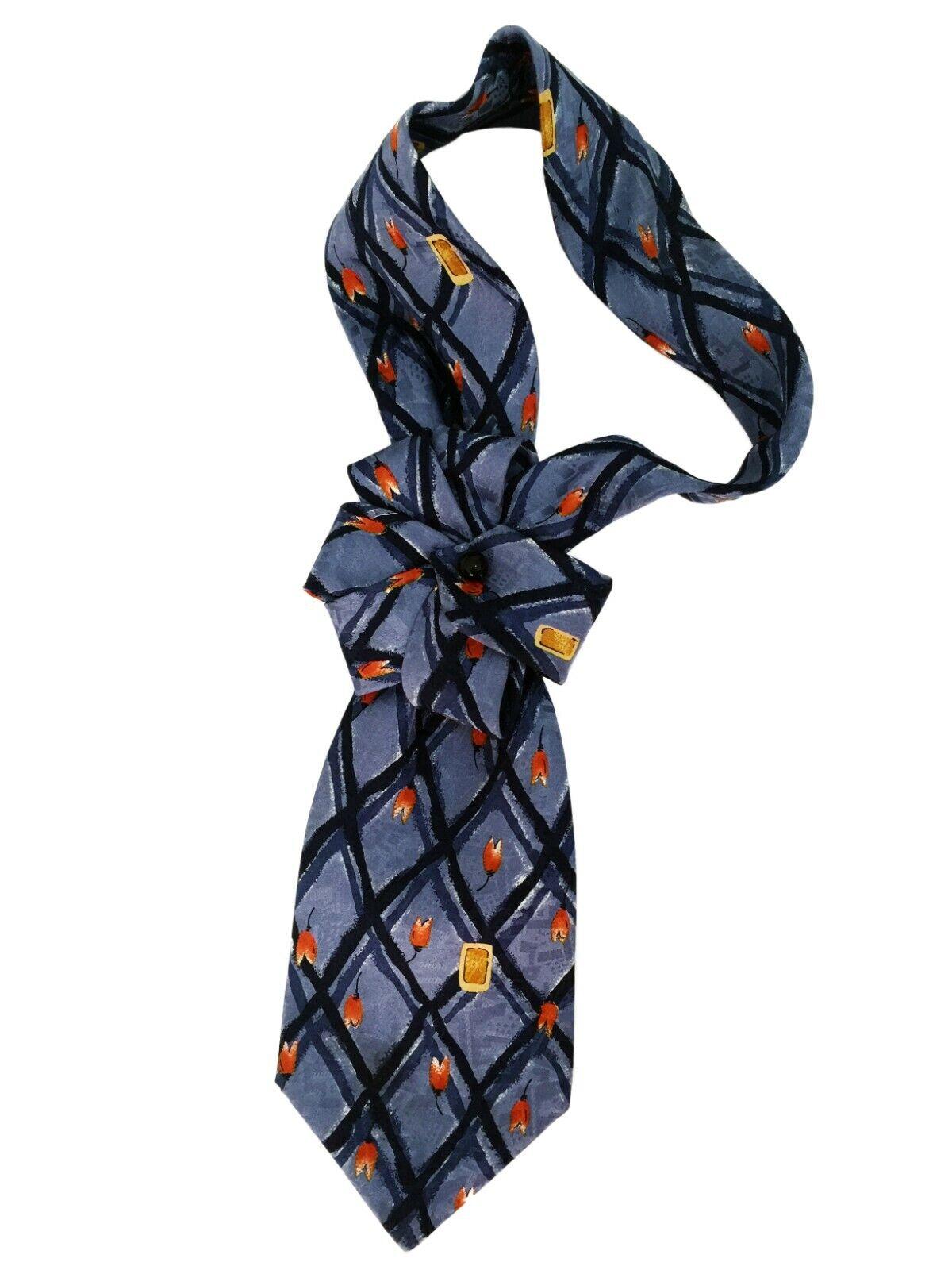 Tie women's Silk 100% Italy. Collar necklace necktie cravat Hand-made brooch