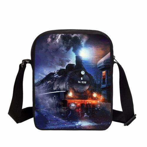 Steam Train Pattern Satchel Boys Messenger Bag Kids Everyday Shoulder Bag Wallet