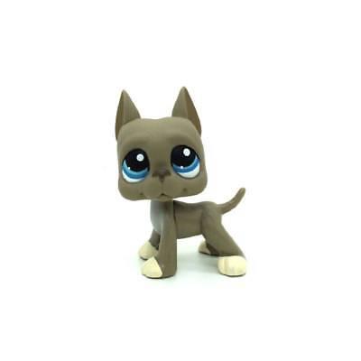 Littlest Pet Shop Animal Blue Eyes Gray Great Dane Puppy Dog Figure Toy