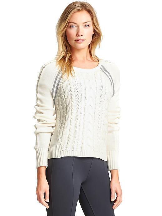 NWOT Athleta SMALL Dove White Cable Knit MONTARA Sweater S - Super Soft