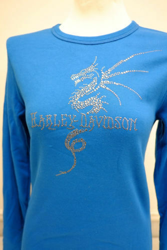 "Harley-Davidson Women/'s L//S Blue Turquoise /""Dragon/"" Embellished shirt Medium"