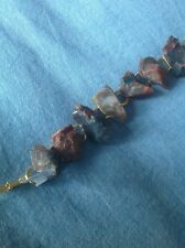 Fossil gemstone Bracelet - Petrified Wood Gems, Gold Plated