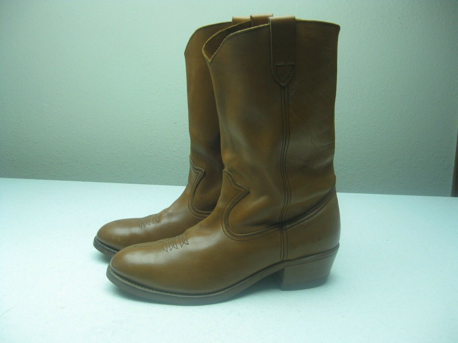 VINTAGE MADE IN USA BROWN WESTERN COWBOY HARD TOE TUP GUM SOLEWORK BOOT SIZE 10E