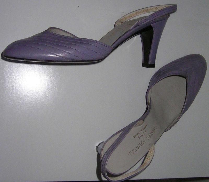 garanzia di credito CHARLES JOURDAN Lamb Leather scarpe Slingbacks Pumps Lavender viola viola viola Heels 7 Bag  consegna rapida
